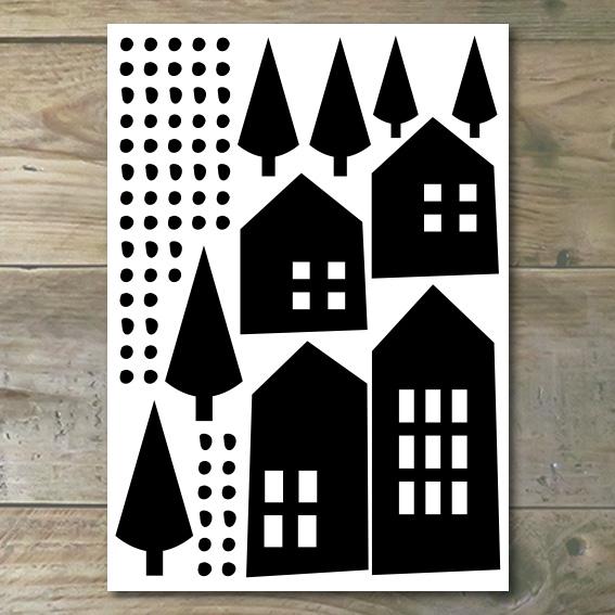 Muurstickers – Moderne Huisjes 1