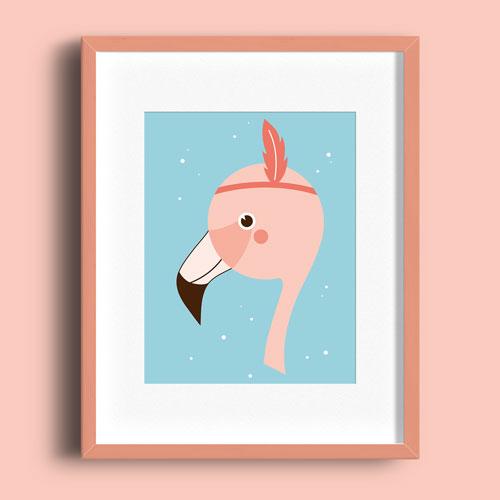 A5 Poster – Flamingo Kleur