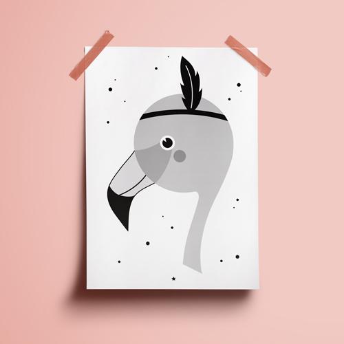 A4 Poster – Flamingo Zw/w