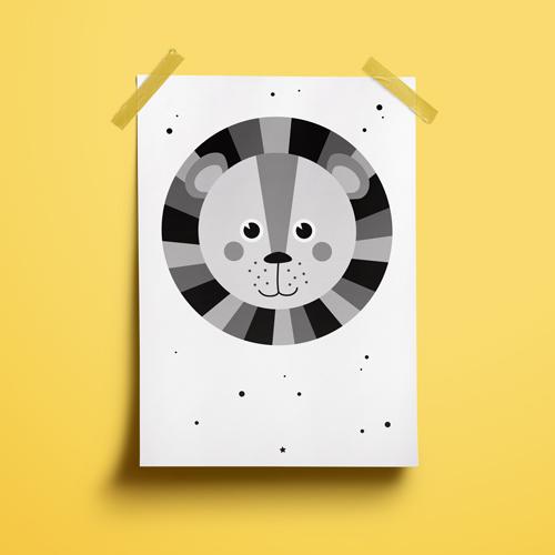 A4 Poster – Leeuw Zw/w