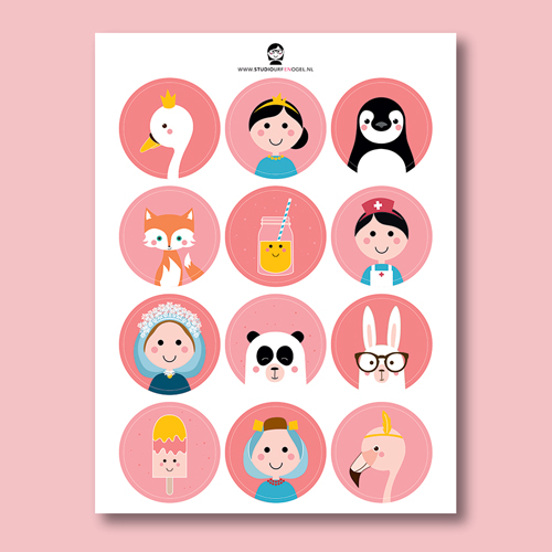 Stickervel – Meisjes Roze
