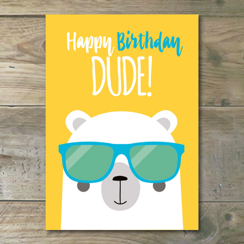 Ansichtkaart €� Happy Birthday Dude!