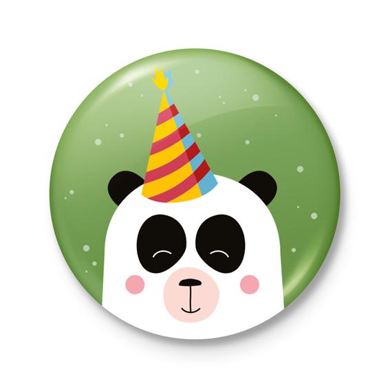Button €� Feest! Panda Groen
