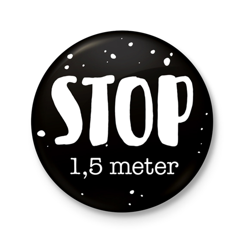 Button €� STOP 1,5 Meter