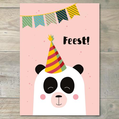 Uitnodiging – Panda/roze – 5 Stuks