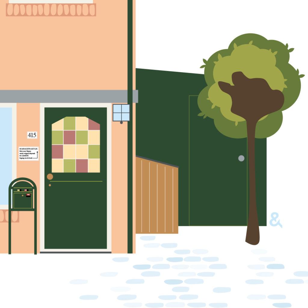 huisportret van studiourfenogel, voordeur met details, een schuur en boom.