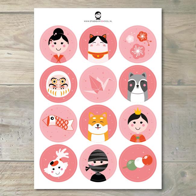 Stickervel – Japan/roze